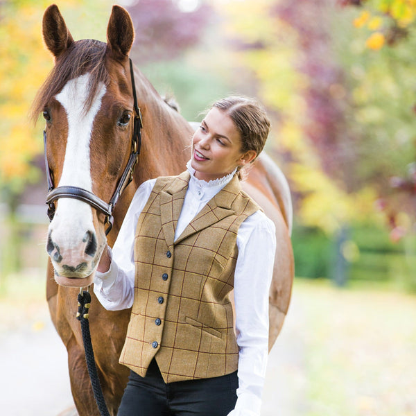 Equetech Wheatley Deluxe Tweed Lapel Waistcoat with horse WSW