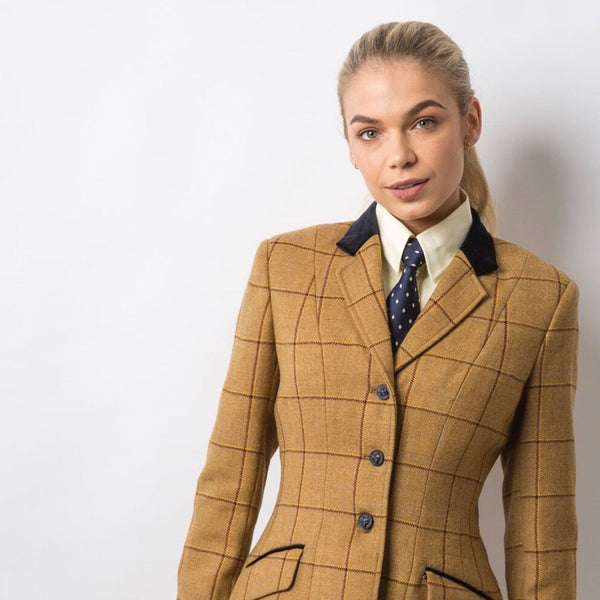 Equetech Wheatley Deluxe Tweed Riding Jacket Studio on Model Close Up WAV