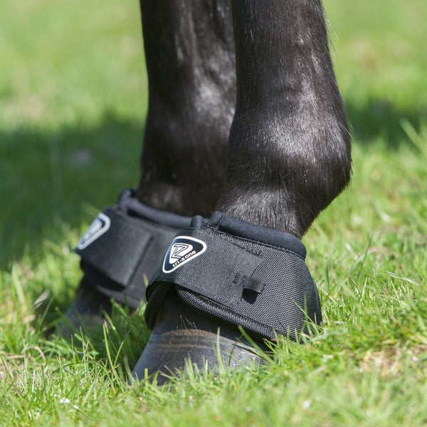 Equilibrium Tri Zone Over Reach Boots worn by Horse in Field