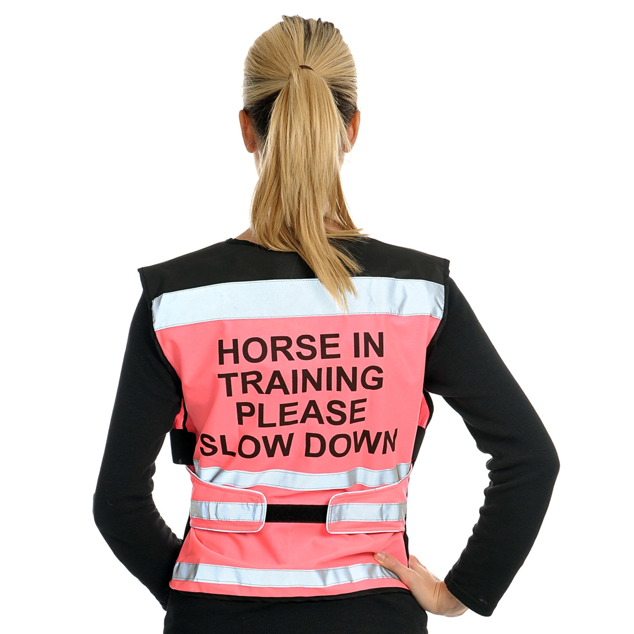 Equisafety Air Waistcoat Horse In Training Please Slow Down Pink Female Model Rear View 613791