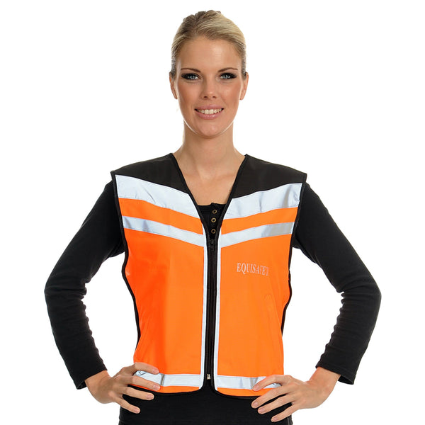 Equisafety Air Waistcoat Please Pass Wide and Slowly Orange Female Model Front View 592409