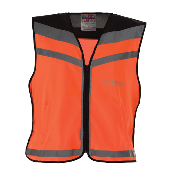 Equisafety Air Waistcoat Please Pass Wide and Slowly Orange Studio Front View 592409