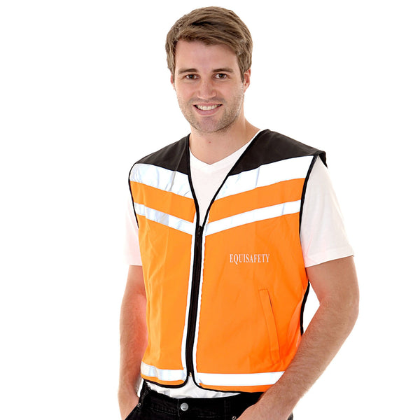 Equisafety Air Waistcoat Please Pass Wide and Slowly Orange Male Model Front View 592409