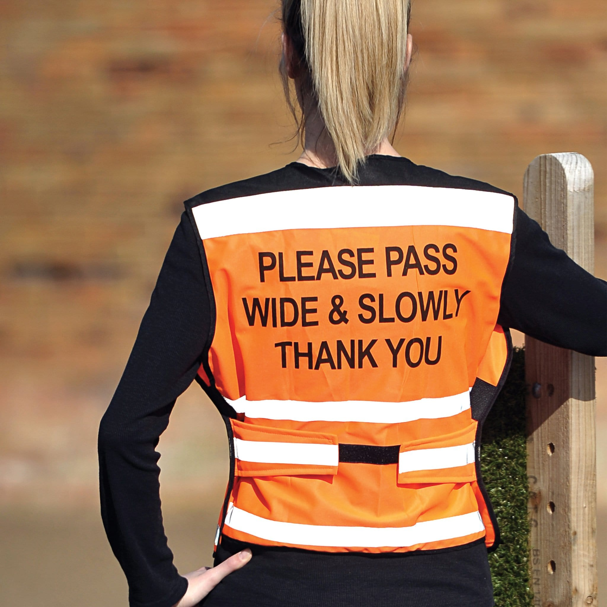 Equisafety Air Waistcoat Please Pass Wide and Slowly Orange Rear View 592409