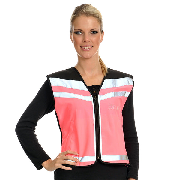Equisafety Air Waistcoat Please Pass Wide and Slowly Pink Female Model Front View 613783