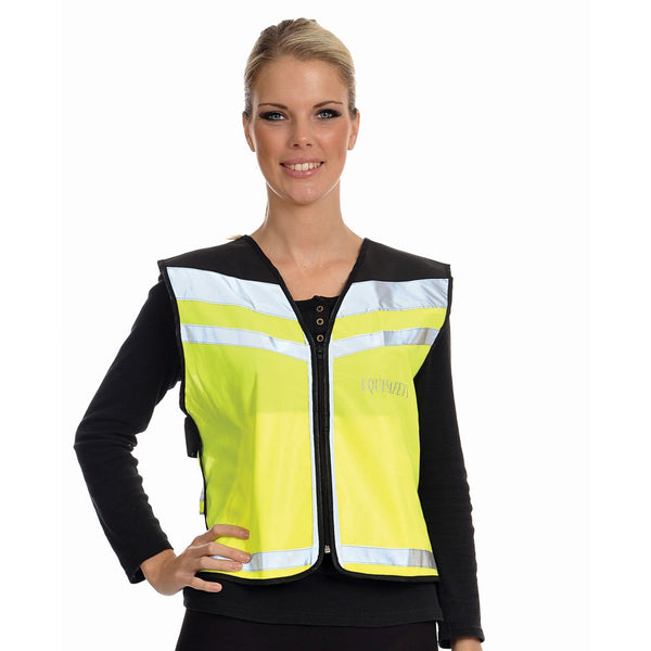 Equisafety Air Waistcoat Please Pass Wide and Slowly Yellow Female Model Front View 613779