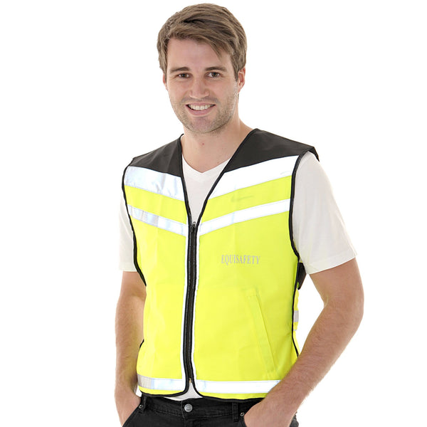 Equisafety Air Waistcoat Please Pass Wide and Slowly Yellow Male Model Front View 613779
