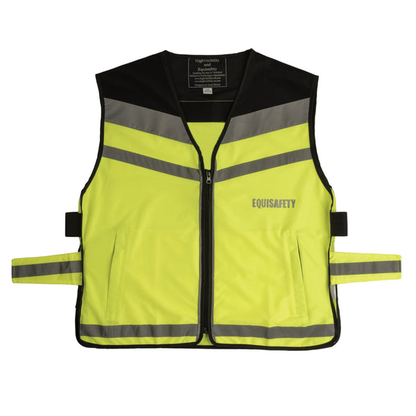 Equisafety Air Waistcoat Please Pass Wide and Slowly Yellow Studio Front View 613779