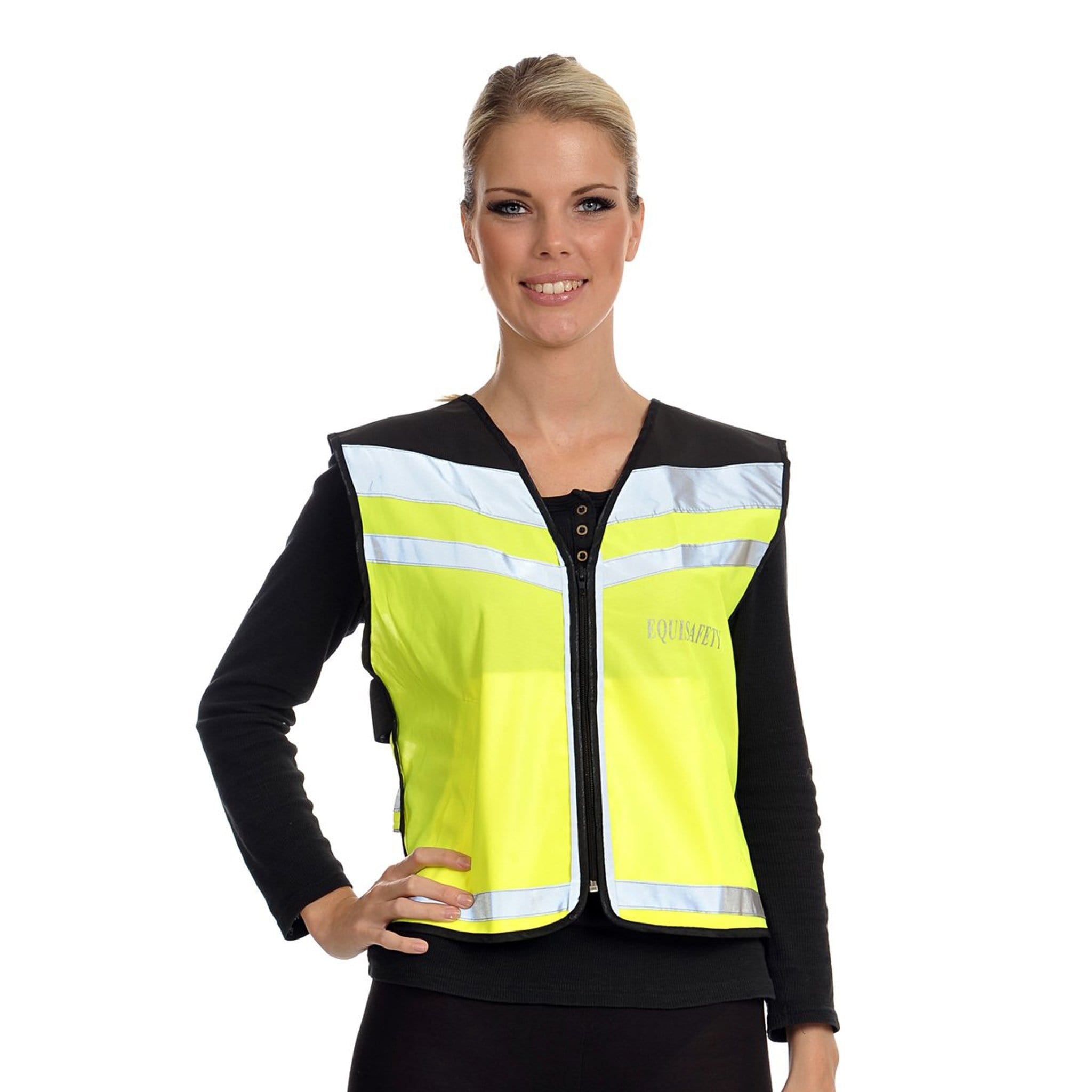 Equisafety Air Waistcoat Yellow Female Model Front View AWPL0