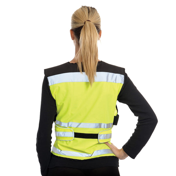 Equisafety Air Waistcoat Yellow Female Model Rear View 613809