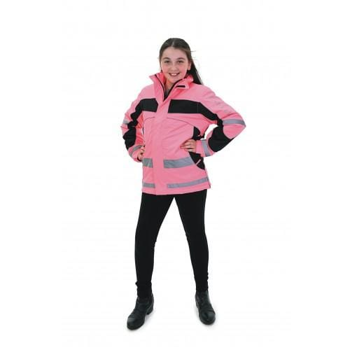 Equisafety Aspey Children's Winter Jacket Pink Front on Model 614277