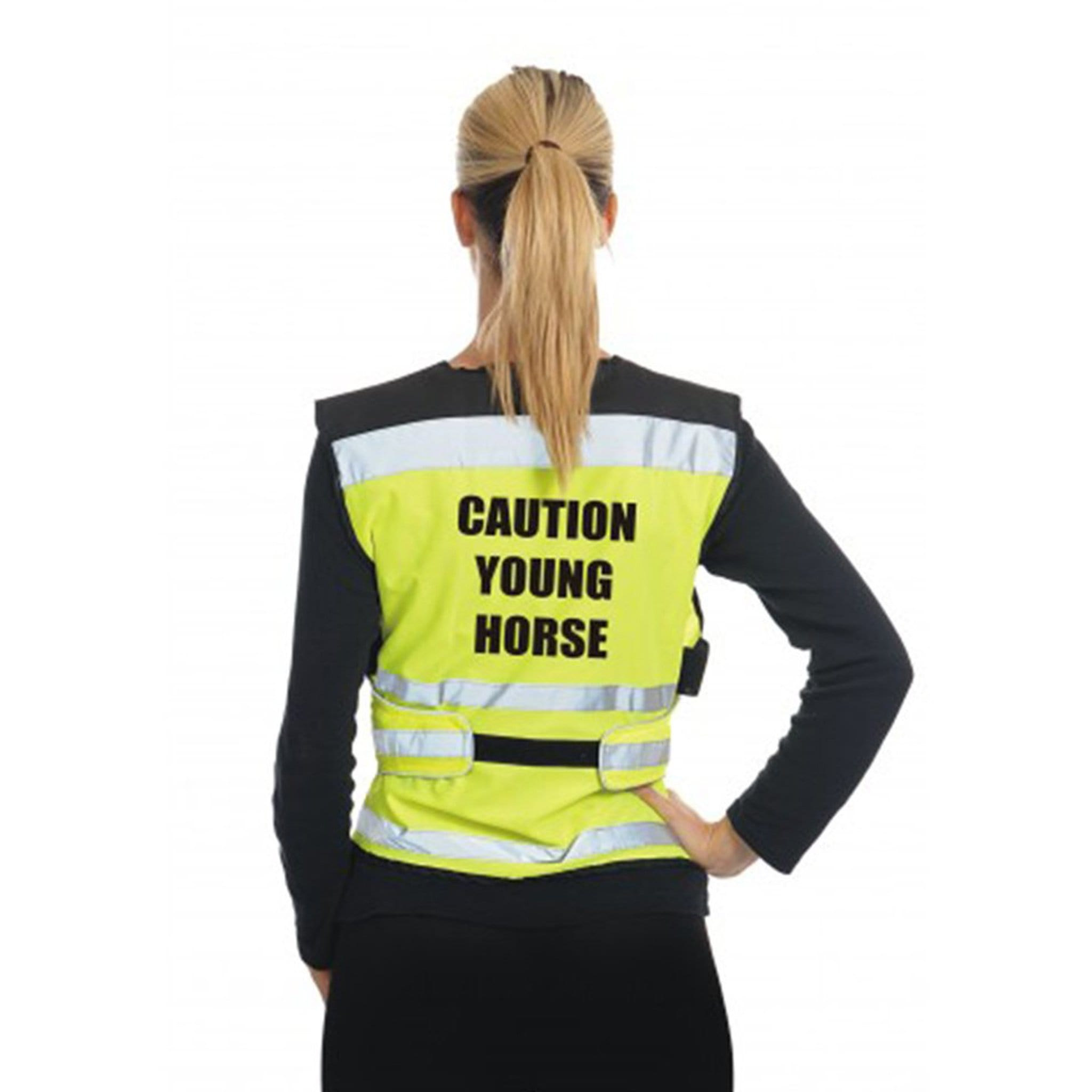 Equisafety Air Waistcoat Caution Young Horse Yellow Rear View AW1CYH0