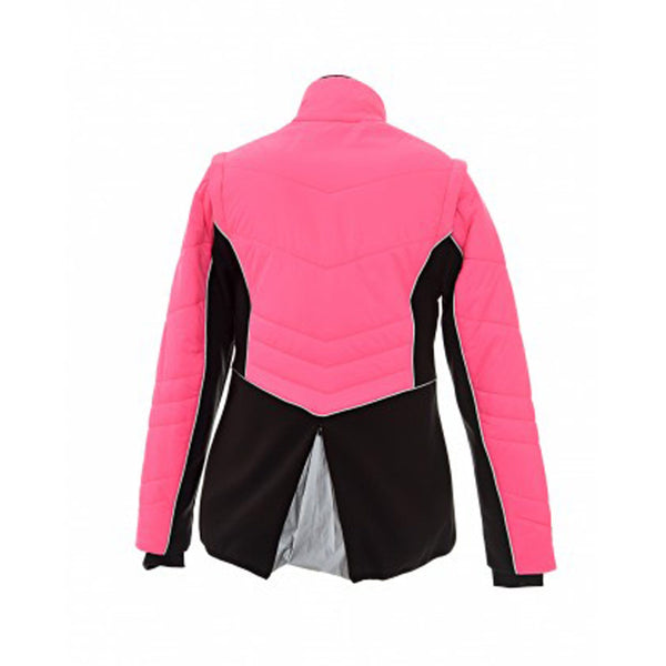 Equisafety Charlotte Dujardin Renver Quilted Jacket Pink Rear Studio 807143