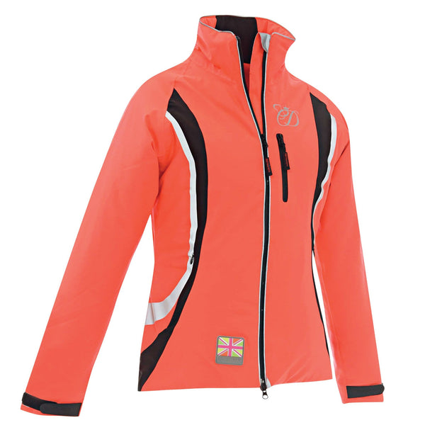 Equisafety Charlotte Dujardin Volte Waterproof Jacket Red Orange Studio Front View 812476