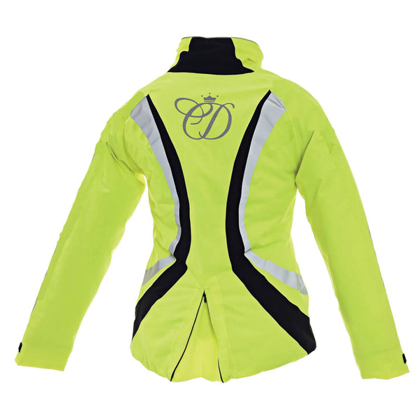 Equisafety Charlotte Dujardin Volte Waterproof Jacket Yellow Studio Rear View 812488