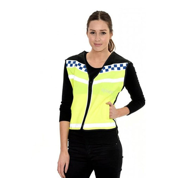 Equisafety Polite Waistcoat Please Slow Down Female Model Front View 608014