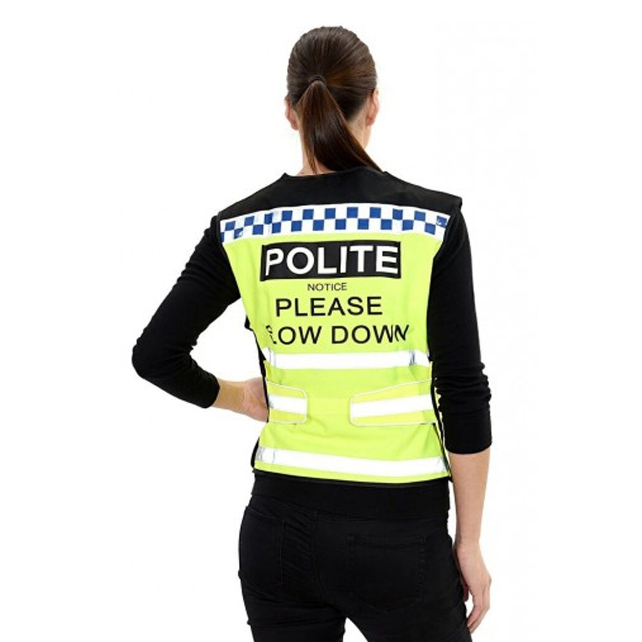 Equisafety Polite Waistcoat Please Slow Down Female Model Rear View 608014