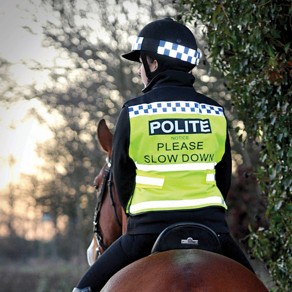 Equisafety Polite Waistcoat Please Slow Down Lifestyle Rear View 608014