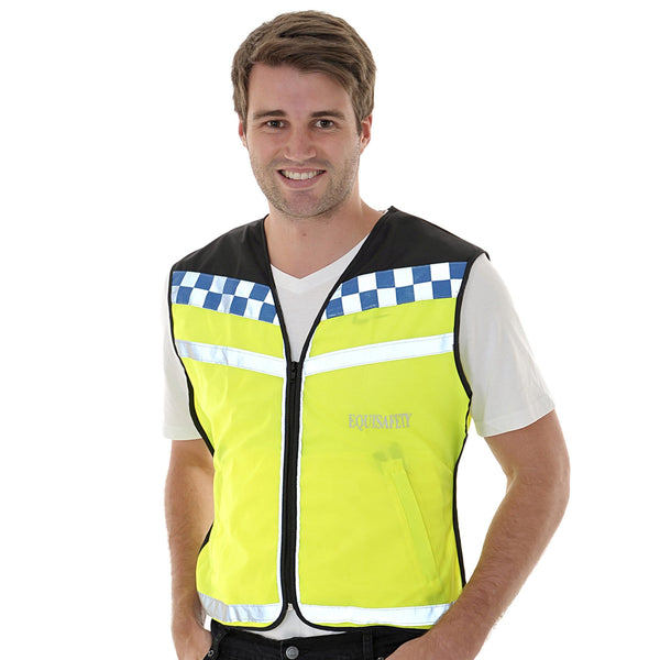 Equisafety Polite Waistcoat Please Slow Down Male Model Front View 608014