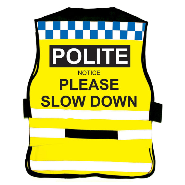 Equisafety Polite Waistcoat Please Slow Down Studio Rear View 608014