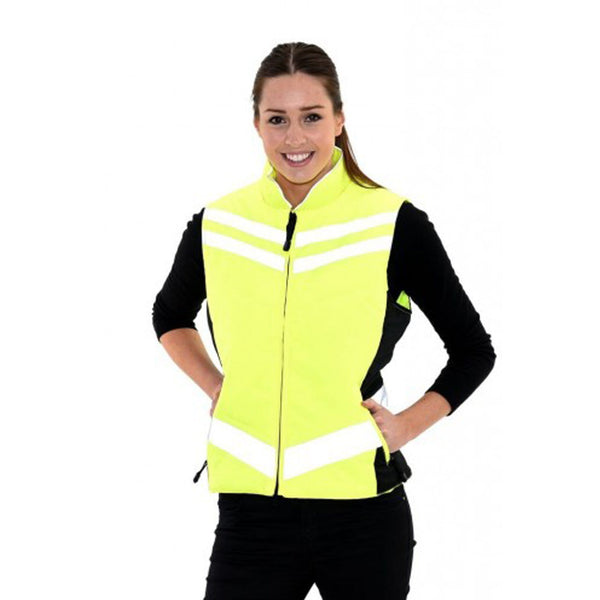 Equisafety Quilted Waistcoat Yellow Female Model 613805