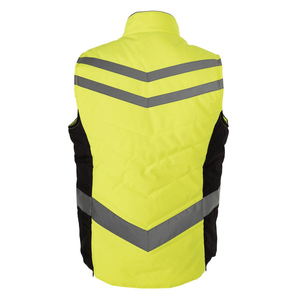 Equisafety Quilted Waistcoat Yellow Rear View 613805