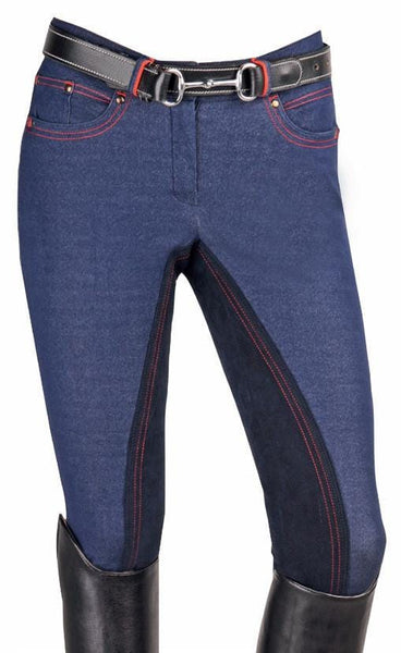 HKM Children's Athletic Sports Red Line Breeches Front View