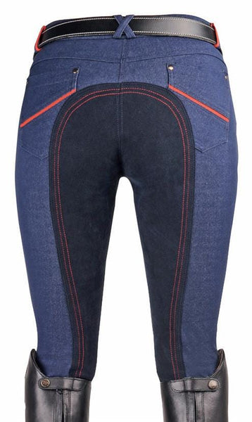 HKM Children's Athletic Sports Red Line Breeches Rear View