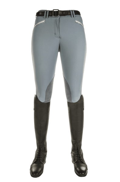 HKM Cavallino Marino Atlantis Crystal Knee Patch Breeches in Grey Blue