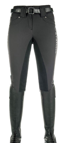 Cavallino Marino Atlantis Softshell Full Seat Breeches in Black Front View