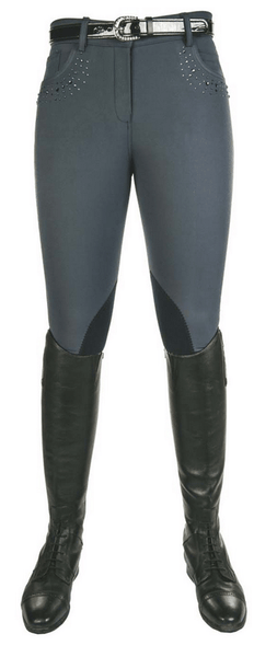 HKM Cavallino Marino Seaside Crystal Knee Patch Breeches in Deep Blue
