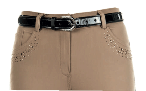 HKM Cavallino Marino Seaside Crystal Knee Patch Breeches in Sand