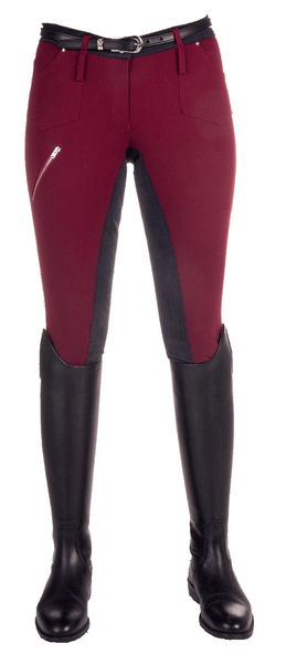 HKM Pro Team Country Life Young Three Quarter Seat Breeches in Dark Red