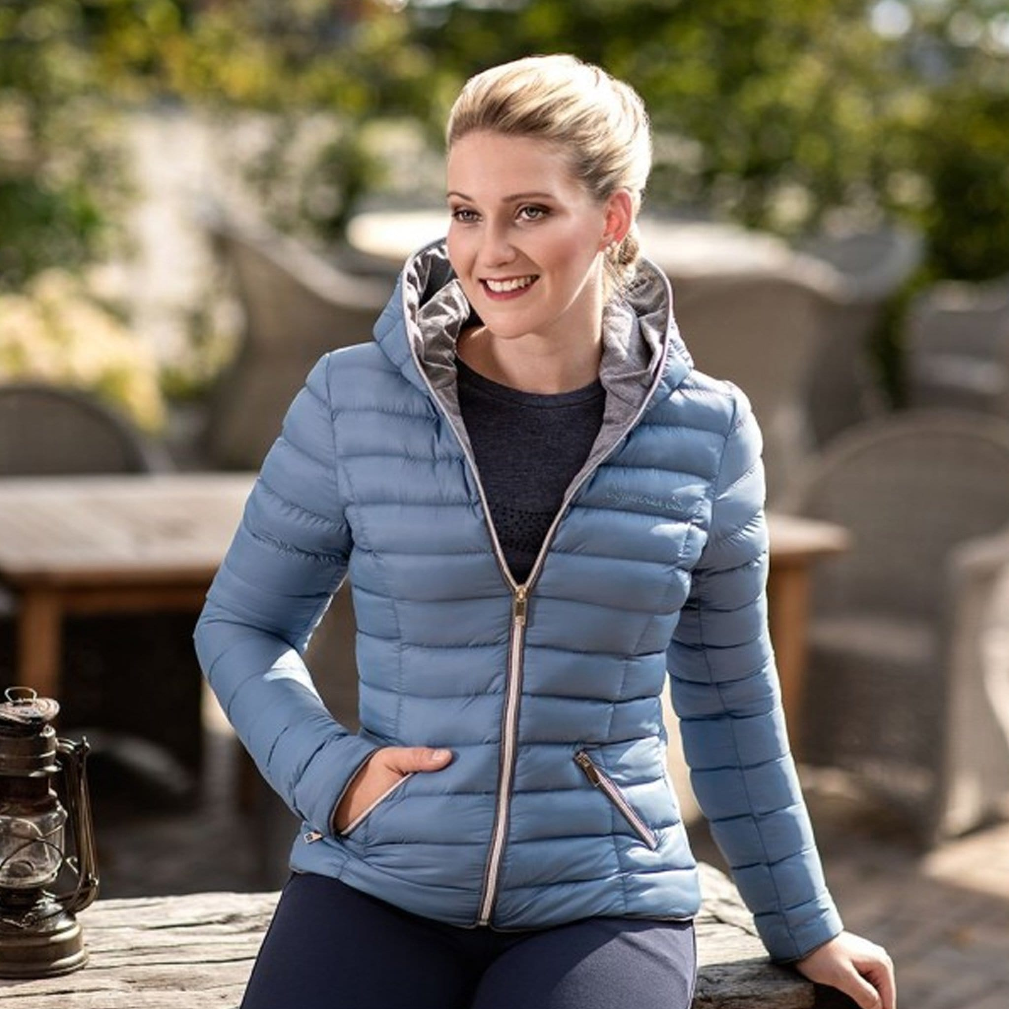 HKM Ella Quilted Jacket Smokey Blue On Model 10992.