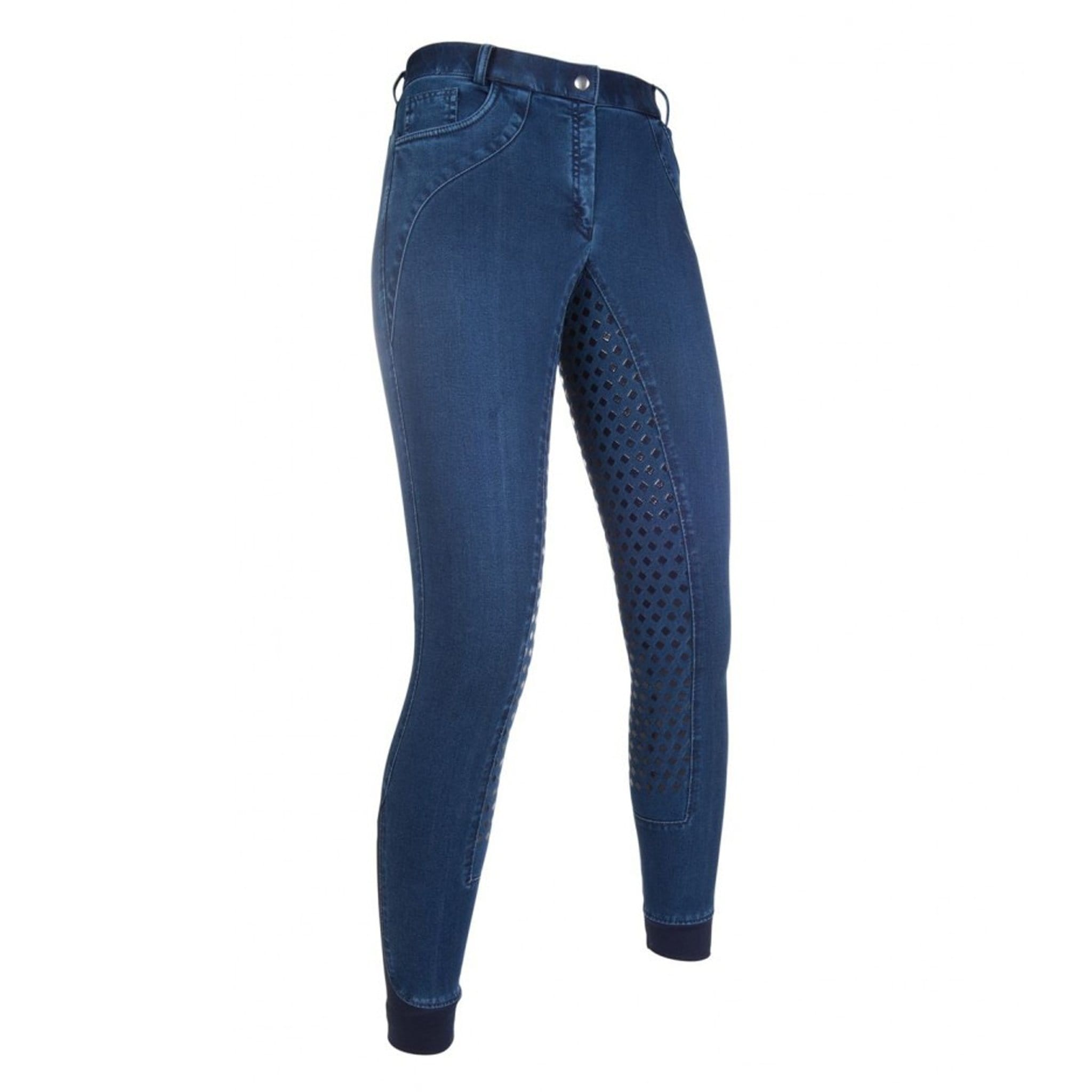HKM Glorenza Denim Silicone Full Seat Breeches Front And Side 10785.