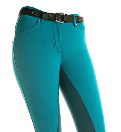 HKM Pro Team Helsinki Three Quarter Seat Breeches in Azure Front View