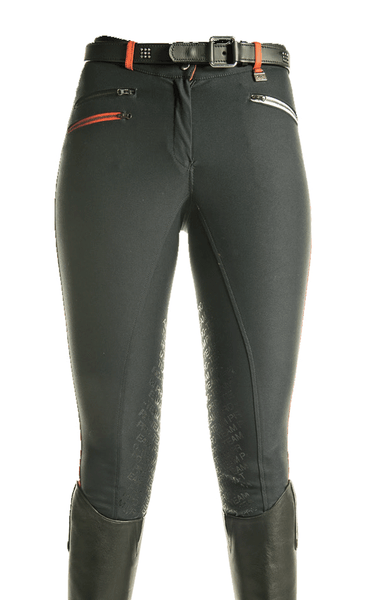 HKM Pro Team Helsinki Silicone Knee Patch Breeches in Deep Red Front View