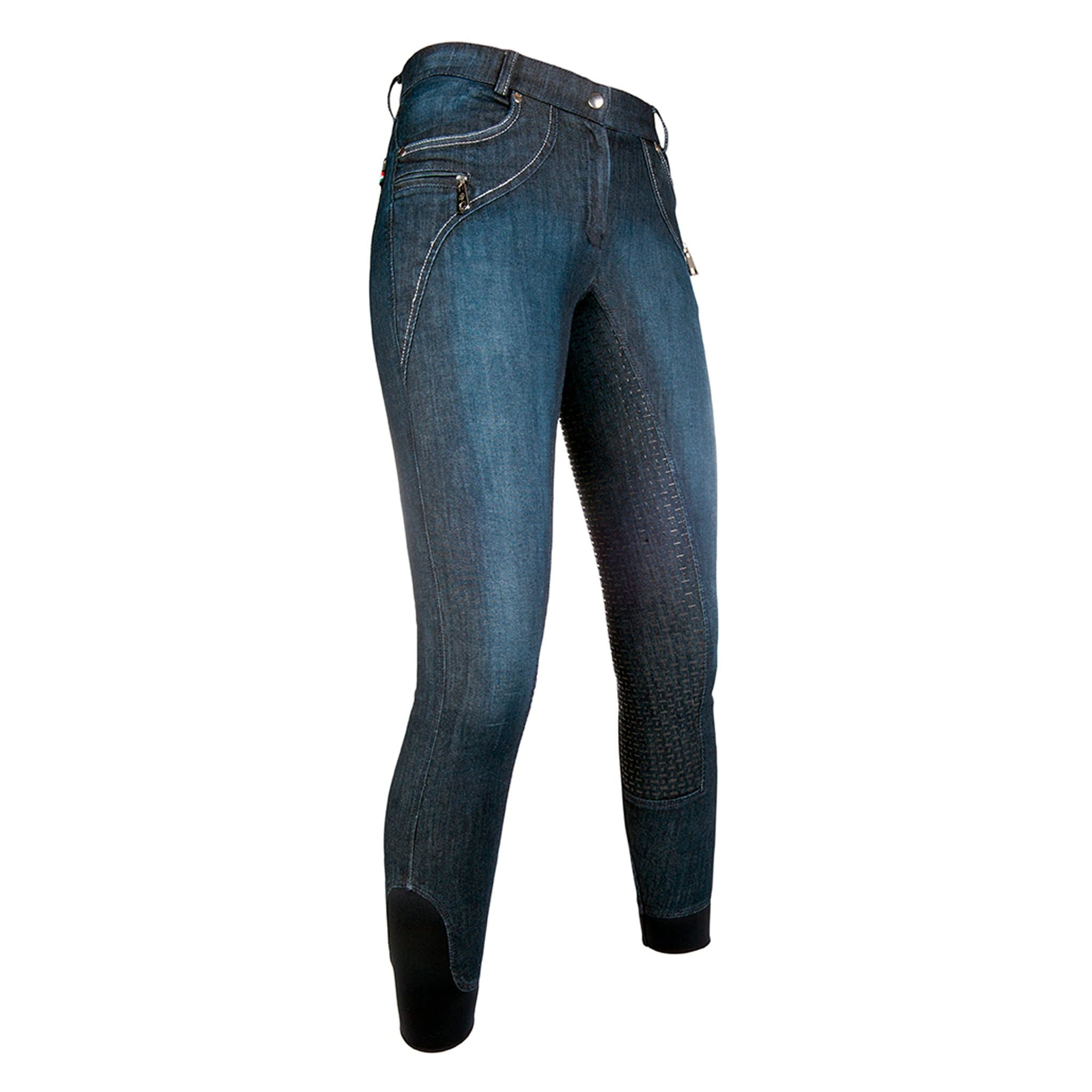 HKM Lauria Garrelli Limoni Denim Silicone Full Seat Breeches 10976 Front Right