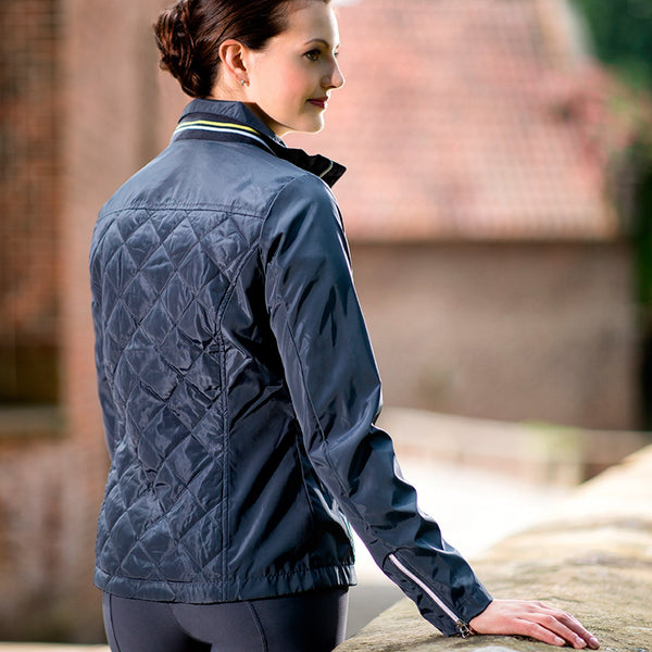 HKM Lauria Garrelli Limoni Quilted Riding Jacket 10619 Back On Model
