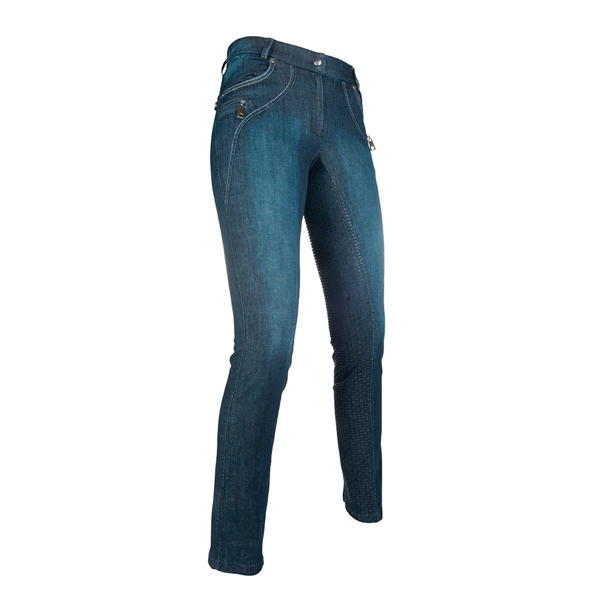 HKM Lauria Garrelli Limoni Denim Straight Leg Silicone Full Seat Jodhpur Breeches 10628 Front Right