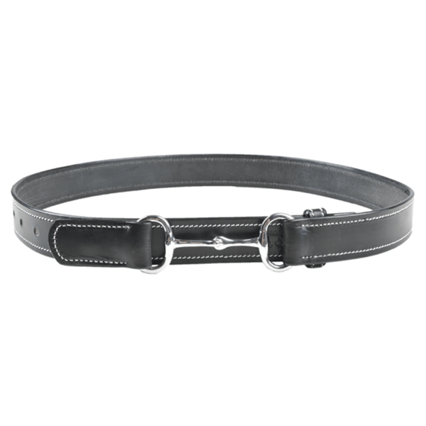 HKM Leather Belt with Ornamental Seam in Black