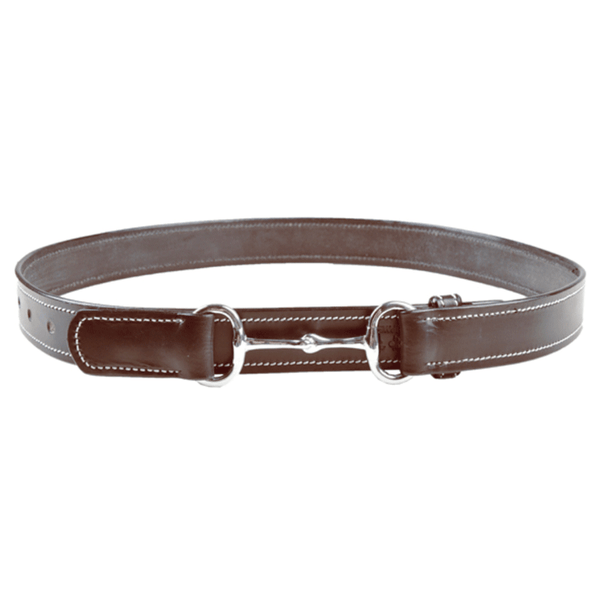 HKM Leather Belt with Ornamental Seam in Brown