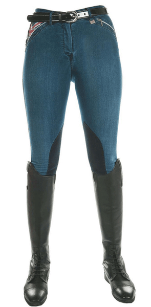 HKM Pro Team Global Team Denim Knee Patch Breeches Front View