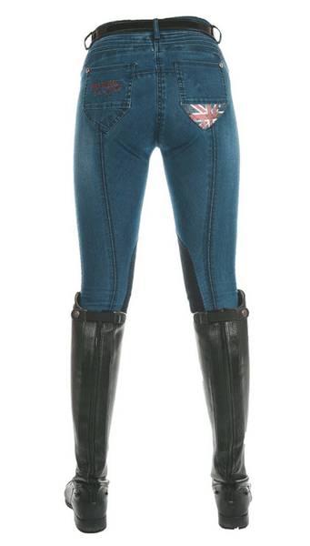 HKM Pro Team Global Team Denim Knee Patch Breeches Rear View