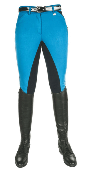 HKM Pro Team Global Team Pocket Flap Three Quarter Seat Breeches in Corn Blue