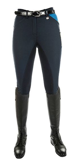 HKM Pro Team Global Team Pocket Flap Three Quarter Seat Breeches in Deep Blue