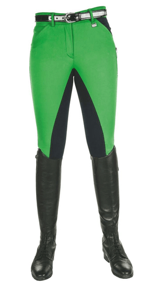 HKM Pro Team Global Team Pocket Flap Three Quarter Seat Breeches in Grass Green