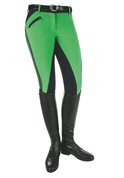 HKM Pro Team Global Team Sporty Three Quarter Seat Breeches in Grass Green