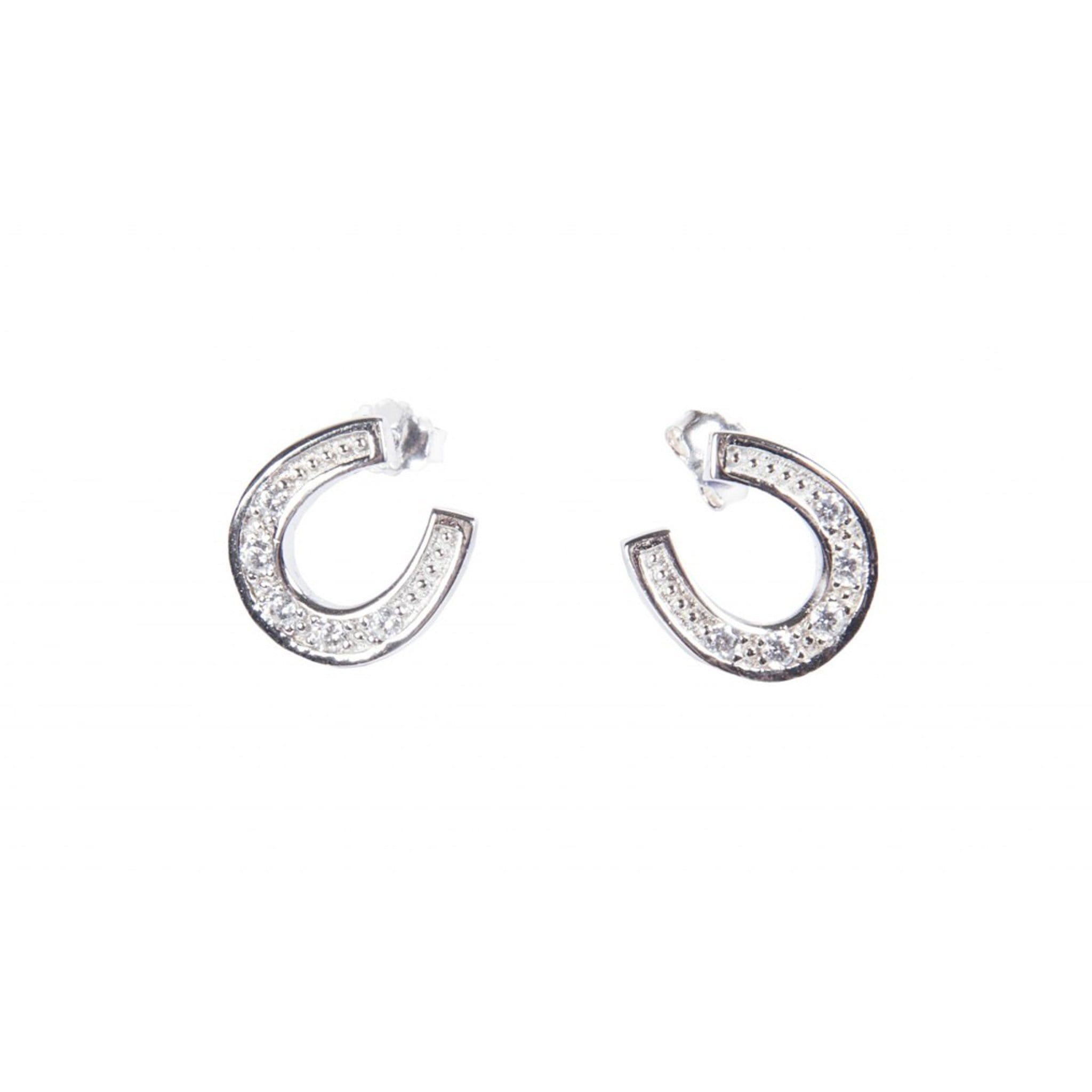 HKM Stirling Silver Diamanté Horseshoe Earrings 6080