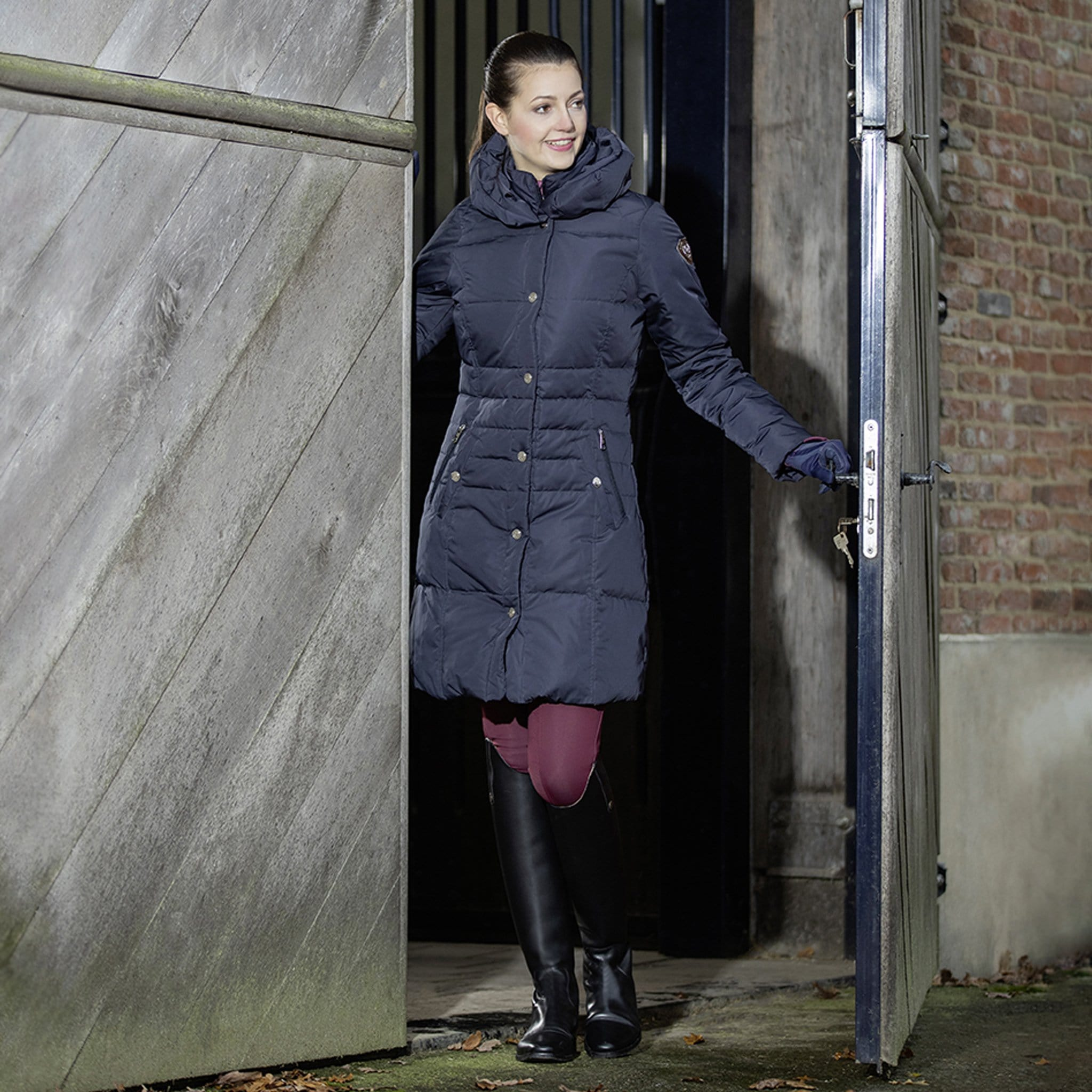 HKM Lauria Garrelli Paris Coat Navy 7080 On Model Front View In Barn Doorway